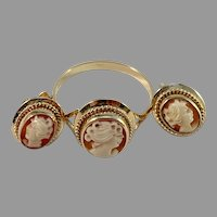 Swedish Import 1950s-60 Mid Century 18k Gold Cameo Set. Ring and Stud Earrings.