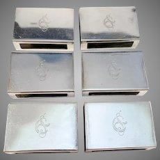 Gösta Fredriksson, Sweden year 1934 Sterling Silver Matchbox Holders. 6 Pieces.
