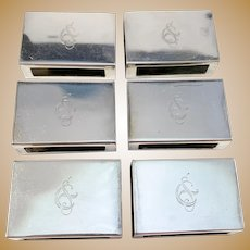 Gösta Fredriksson, Sweden year 1934 Sterling Silver Matchbox Holders. 6 Pieces.