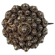 Petter Magnus Wallengren, Sweden 1830-79 Early Victorian Silver Silver Small Button Brooch.