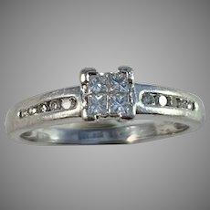 Maker CJ France or Switzerland Vintage Platinum Diamond Engagement Ring.