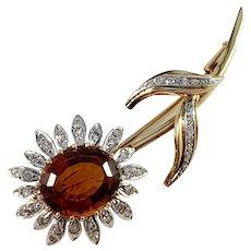 Italy Mid Century 18k Gold 0.67ctw Diamond Garnet Brooch. 11.4gram Excellent.