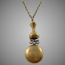Jorma Laine, Finland 1970s Bronze Pendant Necklace. Signed.