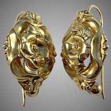 Gabriel Dahlberg, Sweden 1856 Victorian 18k Gold Earrings. Excellent.
