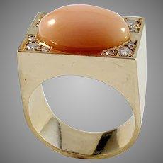 Carl Bucherer, Switzerland Vintage 18k Gold Diamond Coral Ring.