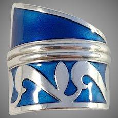 David-Andersen designer Millie Behrens Vintage Sterling Silver Blue Enamel Adjustable Size Ring.