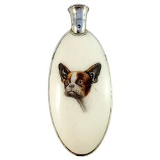 KF, Vienna Austria 1872-1922 Sterling Silver Enamel Novelty Dog Perfume Bottle Flask. Excellent. Provenance