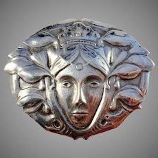 Franz Holm, Sweden 1914 Art Nouveau Sterling Silver Novelty Mother Swea Brooch.