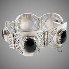 Kaplan, Stockholm year 1953 Massive Mid Century Solid Silver Onyx Bracelet.