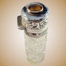 C E Williams, Birmingham year 1903 Edwardian Sterling Silver Cairngorm Stone Perfume Bottle. Provenance