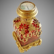 France c 1880s Grand Tour Scent Perfume Bottle. Ruby Glass, Brass. Place de la Concorde, Paris. Museum Exhibition Provenance