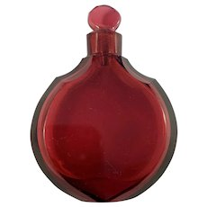 Bohemia, mid 1800s Ruby Red Glass Perfume Bottle. Provenance