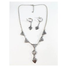 Kalevala Koru, Finland Vintage Sterling Silver Set. Heart Love Necklace Earrings.