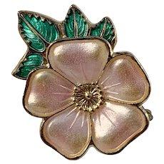 David-Andersen, Norway Vintage Sterling Silver Enamel Sweet Briar Rose Brooch Pin. Excellent.