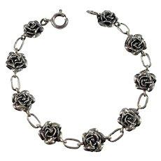 Kello Oy, Finland year 1970 Sterling Silver Rose Flower Bracelet.