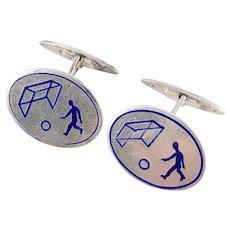 Novelty Mid Century 830 Silver Enamel Soccer Football Pair of Cufflinks. Makers Mark.