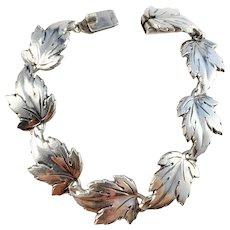 S Christian Fogh, Copenhagen 1950-60s Mid Century Sterling Silver Organic Leaves Bracelet. 32gram