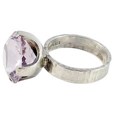 Nordisk Kokusai, Sweden year 1976 Sterling Silver Violet Rock Crystal Ring.