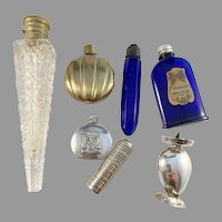 Collection 1920-50s Glass Bronze and Silver Perfume Bottles. Art Deco -  Mid Century. Provenance