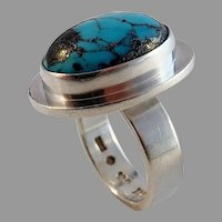Cecilia Johansson, Gothenburg 1988 Sterling Silver Turquoise Ring. Excellent. Signed.