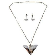 Finn Feelings, Finland Vintage Sterling Silver Rock Crystal Necklace and Earrings.