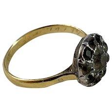 Sweden year 1846 Antique 20k Gold Black Dot Paste Cluster Ring.