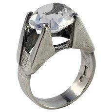 J Klintz, Stockholm year 1973 Modernist Sterling Silver Rock Crystal Ring