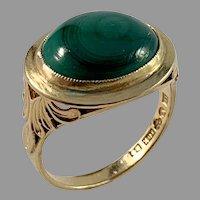 Johan Pettersson, Stockholm year 1952 Mid Century 18k Gold Malachite Ring.