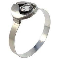 Karl Laine for Finnfeelings, Finland Vintage Sterling Silver Rock Crystal Open Close Bangle Bracelet.