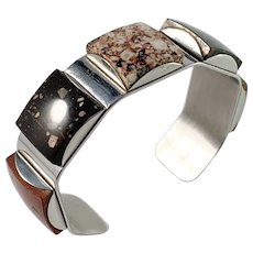 Stenlya, Stockholm 1960s Stainless Steel Various Hardstone Cuff Bracelet.