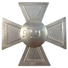 Guldvaruhuset, Sweden year 1943 War-Time Sterling Silver Nurse Badge Pin.