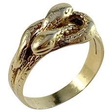 London Antique Victorian 18k Gold Unisex Snake Ring