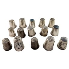 15 Scandinavian Hallmarked Early to Mid 1900s Sold Silver Thimbles.