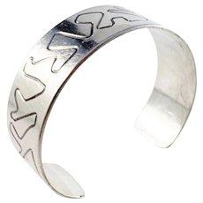 Carlman, Stockholm year 1953 Mid Century Modern Sterling Silver Cuff Bangle Bracelet.