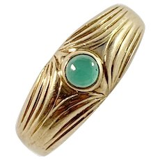 Sweden c year 1900 Art Nouveau 18k Gold Chalcedony Ring.