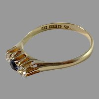 Johan Petterson, Stockholm 1930-40s 18k Gold Synthetic Sapphire Ring.