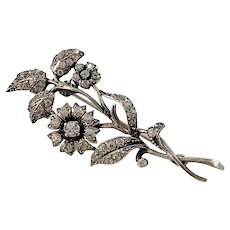 Swedish Import Mid Century Solid 830 Silver Closed Back Paste Stone Flower Brooch