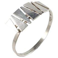 Victor Jansson, Sweden year 1968 Modernist Sterling Silver Open/Close Bangle Bracelet.