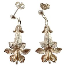 Russia, Soviet Era c 1960s Sterling Silver Flower Dangle Earrings.