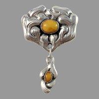 Knud Georg Jensen, Denmark c 1910s Arts and Crafts Skonvirke 826 Silver Amber Brooch.