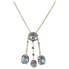 Russia c year 1910 Edwardian 14k Gold Aquamarine Negligee Necklace