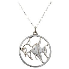 Forster & Graf, Germany Vintage Sterling Silver Fish Pendant w. New Sterling Chain.