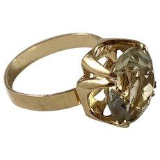 Bengt Hallberg, Sweden year 1977 Modernist 18k Gold Rock Crystal Ring.