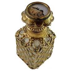 France Antique Victorian Glass Bronze Grand Tour Souvenir Perfume Bottle.