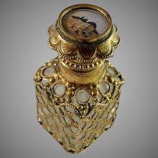 France Antique Victorian Glass Bronze Grand Tour Souvenir Perfume Bottle.