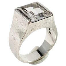 G Dahlgren, Sweden 1968 Sterling Silver Rock Crystal Ring.