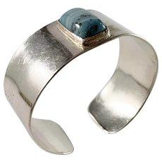 Sweden 1960s Sterling Silver Bergslagen-Stone Bangle Bracelet.