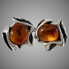 Niels Erik From, Denmark 1950-60s Sterling Silver Amber Large Clip-on Earrings