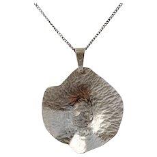 Södermark, Sweden 1960s Solid 830 Silver Pendant Necklace.