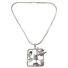 Stockholm year 1940 Solid Silver War-Time Peace Dove Large Pendant Necklace.